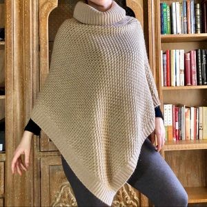 Calvin Klein Tan and Gold Knit Poncho Sweater